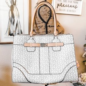RARE Guess Acme Tote White